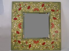 Green and Red Poppies Paper Mosaic Mirror by rcphandcrafts on Etsy, $85.00