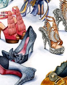 Dozens of Chic Shoes Illustration Pieces Shoe Sketches, Fashion Sketches, Fashion Illustrations, Fashion Illustration Collage, Drawing Fashion, Fashion Art, Fashion Shoes, Fashion Design, High Fashion