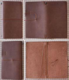 the basic construction of the Midori Traveler's Notebook Diy Notebook, Notebook Covers, Journal Covers, Midori Inserts, Pretty Neat Living, Foxy Fix, Bookbinding Tutorial, Planner Tips, Handmade Headbands