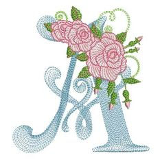 Embroidery Tutorials Mar Lena Embroidery - Stitch these beautiful monograms on your linen and towels. Flower Embroidery Designs, Rose Embroidery, Vintage Embroidery, Embroidery Stitches, Embroidery Patterns, Cross Stitch Patterns, Machine Embroidery, Shirt Embroidery, Hand Embroidery Tutorial