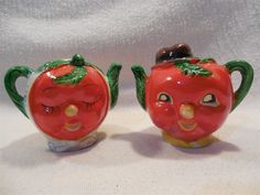 Vintage Japan Ceramic Anthropomorphic Tomato Head Teapot Salt & Pepper Shakers  | Collectibles, Decorative Collectibles, Salt & Pepper Shakers | eBay!