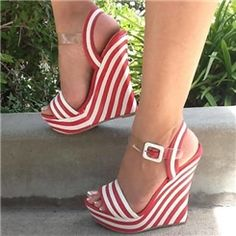 WOULD WEAR THESE FOR 4TH OF JULY.WHITE JEANS, BLUE TOP AND THESE SHOES...RED WHITE & BLUE ....Fancy Red & White Stripes Wedge Sandals with Buckles