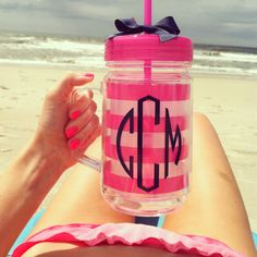 Perfect for a beach girl like me! Mason Jar With Straw, Mason Jars, Craft Gifts, Diy Gifts, Just In Case, Just For You, Shilouette Cameo, I Need Vitamin Sea, Little Presents