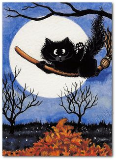 Black Cat Autumn Leaves Art Print or ACEO by by AmyLynBihrle, $8.99