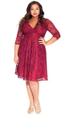 Free shipping and returns on City Chic \'Flicker Rose\' Dress (Plus ...