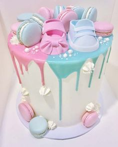 Blue and Pink Baby Shower Cake #babyshowerdecorations