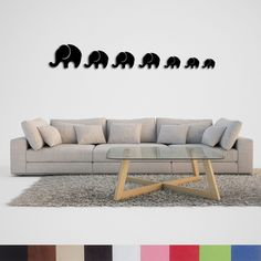 Handmade, Elephant Herd Patterned Wall Tattoos Patterned Wall, Wall Tattoo, Wall Patterns, Elephant, Couch, Tattoos, Handmade, Furniture, Home Decor