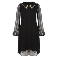 Black Chiffon Golden Beaded Full Sleeve Dress For The Smart Casual Woman - plus size clothing
