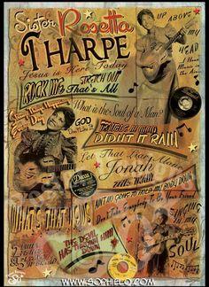 Sister Rosetta Tharpe Rock Posters, Concert Posters, Tribe Of Judah, Delta Blues, Blue Poster, Women In Music, Famous Singers, Soul Sisters, Gospel Music