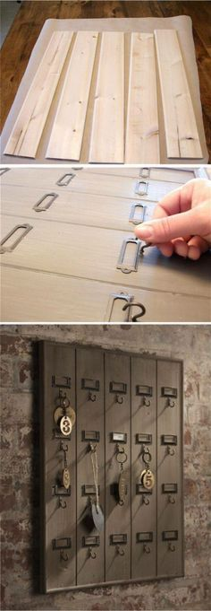 If you don\'t have an old rusty set of apartment mailboxes... not a problem. Just create one your SELF!  ;o)   ..   ... http://www.pinterest.com/vintagebyrede/inspiring-repurposed-ideas/