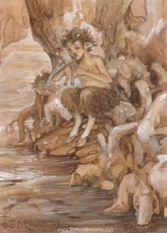 Satyr, Centaur, Mythological Creatures, Mythical Creatures, Illustrations, Book Illustration, Greek Mythology, Figure Painting, Art Reference