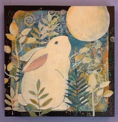Original Paintings, mixed media assemblage and collage by SueDavisStudio Rabbit Art, Bunny Art, Crayon, Medium Art, Art Techniques, Painting Inspiration, Textile Art, Altered Art, Collage Art