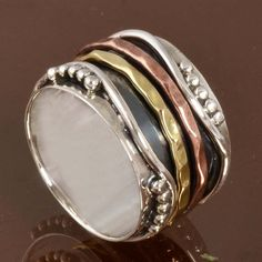 EXCLUSIVE 925 STERLING SILVER Three Tone Spinner RING 6.25g DJR10115 SZ-5.5…