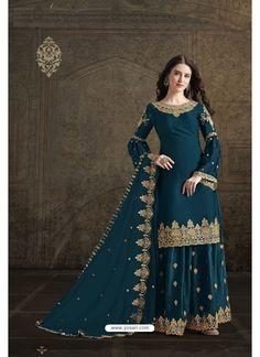 Teal Blue Rangoli Georgette Designer Partywear Suit Ethnic Dress, Indian Ethnic Wear, Designer Salwar Suits, Designer Dresses, Wedding Salwar Suits, Anarkali Suits, Churidar Suits, Punjabi Suits, Party Wear