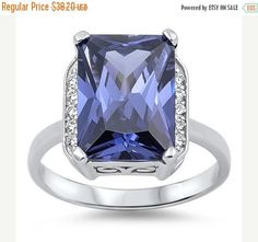 Beautiful 925 Sterling Silver 11.00 Carat Radiant Cut Tanzanite Round White Topaz Halo Wedding Engagement Anniversary Cocktail Ring Gift