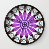 Painted Purple Flower Kaleidoscope Wall Clock