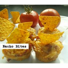 Nacho bites - 1/4 - 1/2 420g tin baked beans (chilli beans would be extra tasty but we were out) Handful of frozen corn 2 eggs 3 slices salami, finely chopped (optional - you could use mince too for a more authentic Mexican bite) Nacho chips, crumbled Grated cheese for topping  Crumble nacho chips and sprinkle a layer on the base of greased mini muffin tray.  Lightly beat eggs, add beans, corn, salami (+any seasoning if you wish).  Top the nacho chips with the mix. Top with grated cheese…