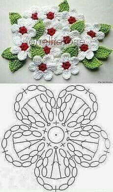 Crochet Mini Bead Flower String Tutorial-Video: How to crochet flower with bead? Flores Tejidas charts for Flox Carnations & Freesia Crochet Cherry Blossom It's Spring and around us Everything is becoming alive. Foto s van de muur van crochet 382 foto s Crochet Leaves, Crochet Motifs, Crochet Diagram, Crochet Chart, Crochet Stitches, Applique Stitches, Crochet Appliques, Crochet Flower Tutorial, Crochet Flower Patterns