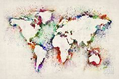 Map of the World Paint Splashes Stretched Canvas Print by Michael Tompsett at Art.com