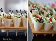 Salad in a cone: @Made By Meg catering