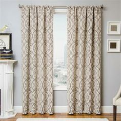 Azure Scroll Curtain Panel Available In 6 Color Choices Bestwindowtreatments 108 Inch