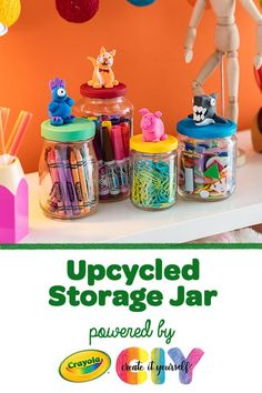 Organize craft supplies inside a DIY glass storage jar, a cool upcycled craft idea. The Model Magic topper on the lid makes this kids' craft fun to make and display! Diy Storage Jars, Kids Craft Storage, Glass Storage Jars, Craft Organization, Diy Jars, Art Supplies Storage, Kids Craft Supplies, School Supplies, Upcycled Crafts
