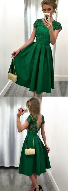 Elegant Cap Sleeves Lace Satin Short Prom Homecoming Dress Green Formal Party Gown #dress #gown #prom #homecoming #evening #party #cocktail #wedding #bridesmaid #formaldress #formalgown #green #lace