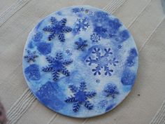 Snowflake Wall art white and blue porcelain by BlueButterflyCrafts