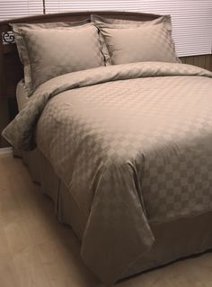 With Love Home Decor - Taupe Checkered Down Alternative Bed in a Bag King Pillows, Pillow Shams, Pillow Cases, Egyptian Cotton Bedding, Bed In A Bag, Love Home, Flat Sheets, California King, Luxury Bedding
