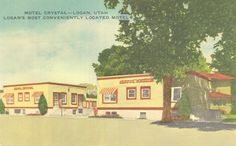 Logan Library - Historic Photo Collection: Motel Crystal. Date: about 1965. Address: 43 East 100 South Logan, Utah. The Motel Crystal is today the Old Trapper Inn. Photographer: Lynx Products.