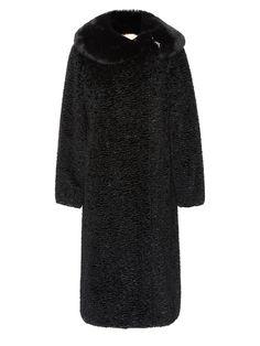 Cappotto donna bouclé grigio con collo in pelliccia Solleciti
