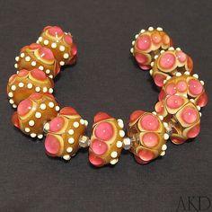 Lampwork Glass Beads Set SRA Handmade Round Beads by AKDlampwork, $90.00