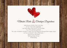 Two Drawn Hearts Wedding Invitation by LillisPaperDesigns on Etsy, $14.99