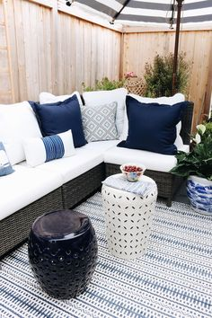 Our Side Patio Makeover (+ Patio Pond giveaway!) - The Inspired Room Used Outdoor Furniture, Patio Furniture Makeover, Patio Furniture Cushions, Patio Rugs, Rustic Furniture, Cool Furniture, Porch Makeover, Furniture Ideas, Furniture Layout