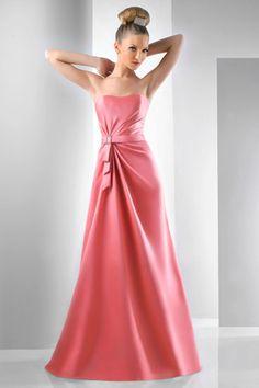 Band Siren Flat Simple Pink Satin A Line Floor Length Evening Dress