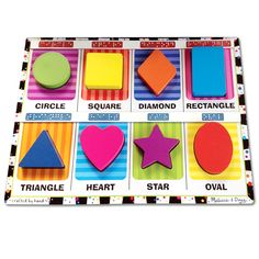 Melissa and Doug Chunky Puzzle Shapes - Tactile with Braille Markings - Toys - MaxiAids