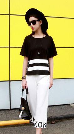 Fashiontroy  Unique fashion short sleeves crew neck black letter printed cotton blend T-shirt