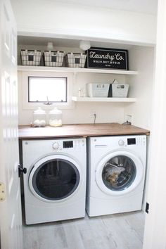 A budget-friendly farmhouse laundry room that's small, yet makes a large impact. The space is not only pretty, but functional for your laundry needs! room design large Home // Farmhouse Laundry Room - Lauren McBride Laundry Room Remodel, Basement Laundry, Farmhouse Laundry Room, Small Laundry Rooms, Laundry Room Organization, Laundry Room Design, Laundry Storage, Laundry Decor, Dark Basement