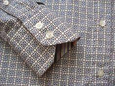 Johnston Murphey L Tailored Fit Gray Geometric Dapper Dress Shirt EUC | eBay