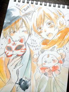 Kashitarou and Amatsuki fanart Kawaii Drawings, Art Drawings, Copic, Kitsune Mask, Manga Artist, Otaku, Anime Artwork, Kawaii Anime, Anime Manga