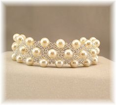 Cream Pearls and Silver Cuff Bracelet Beaded by BridalDiamantes