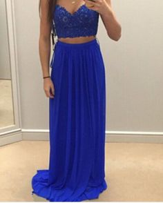 Charming Royal Blue Two Pieces Prom Dresses 2016, Two Piece Prom Dresses, Evening Gown, Formal Wear,#prom, #promdresses