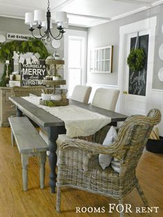 Grey and white dining room. Farmhouse Table