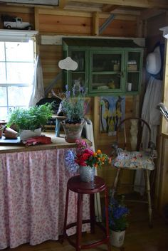 Dream cutting Garden Shed Will have all my milk glass and flower frogs lined up on open shelves!