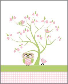 Owl art for children, whimsical green pink wall art,  bird kids wall art, tree art for babies room, pink nursery decor. $12.00, via Etsy.
