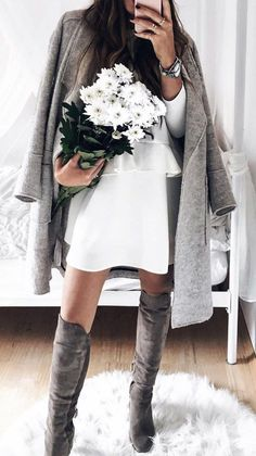 #fall #outfits · Grey Coat // White Dress // Suede Knee Length Boots