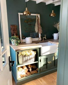 Rustic chic design inspiration via @simplyscandikatie on Instagram. We love the combination of the earthy @farrowandball Green Smoke paint combined with our Mayan brass taps in aged brass #perrinandrowe #utilityroomdesignideas #utilityroomdesign #homedecor #rusticinteriors #countrysidehomes #designinspo #homedesignideas #homeinteriors #brasstaps #brassaccents #homeinspiration #laundryroomideas #laundryroomdesign Utility Room Inspiration, Design Inspiration, Cottage Interiors, Rustic Interiors, Utility Room Designs, Smoke Painting, Wall Mounted Taps, Emotional Rollercoaster, Laundry Room Design