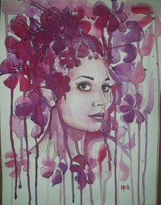 Into #texture  figurative  Model :Sara Petrova  Acquerello su carta  35x50 cm  MELA - Carmela Garro