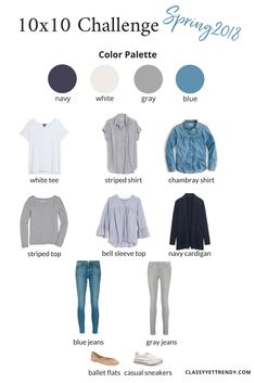 10x10 Challenge: Spring 2018 - See what I will be wearing for 10 days: a white tee, striped top, bell sleeve shirt, striped shirt, chambray shirt, navy cardigan, gray jeans, blue jeans, ballet flats and casual sneakers. These clothes and shoes from my wardrobe rack are from my capsule wardrobe.  #spring10x10 #10x10challenge #10x10friends