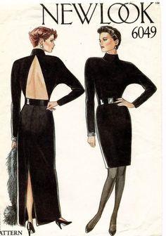 1980's VTG New Look Misses' Evening Dress Pattern 6049 Size 8-18 UNCUT